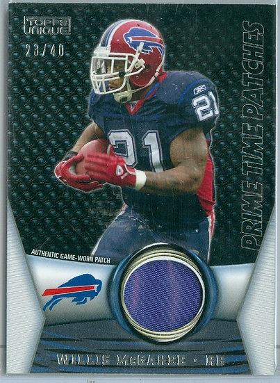"""Willis McGahee"" SP GAME-WORN PATCH CARD #d 23/40"
