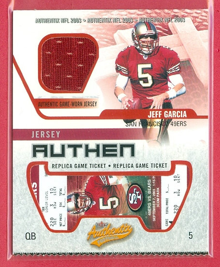 """""""Jeff Garcia"""" SP GAME-USED JERSEY CHASE CARD"""