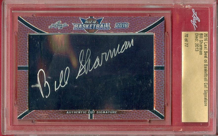 """""""Bill Sharman"""" SP CUT SIGNATURE CARD #'ed 70 of 77"""