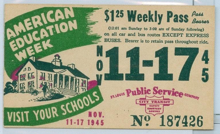 1945 ST. LOUIS CAR & BUS PASS TICKET #187426