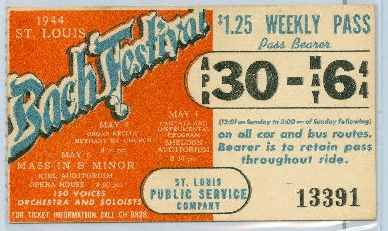 1944 ST. LOUIS CAR & BUS PASS TICKET #13391