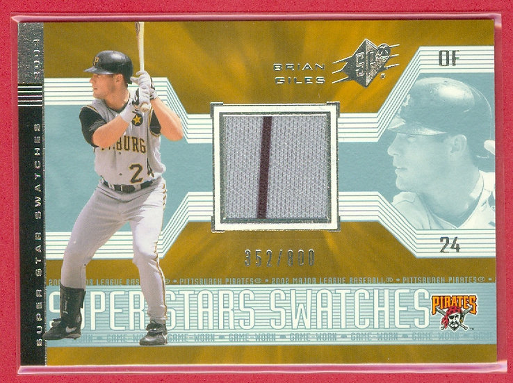 """""""Brian Giles"""" SP GAME JERSEY RELIC CARD #d 352/800"""