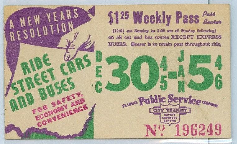 1945-46 ST. LOUIS CAR & BUS PASS TICKET #196249