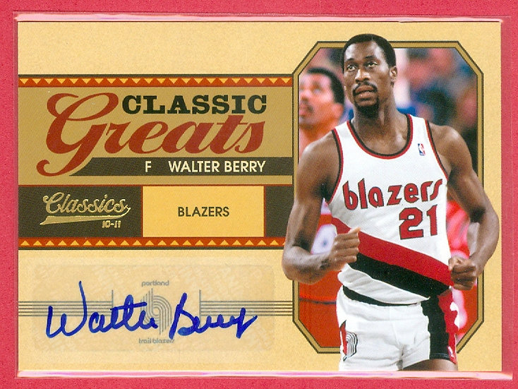 """""""Walter Berry"""" SP AUTOGRAPH CHASE CARD #'ed 02/99"""