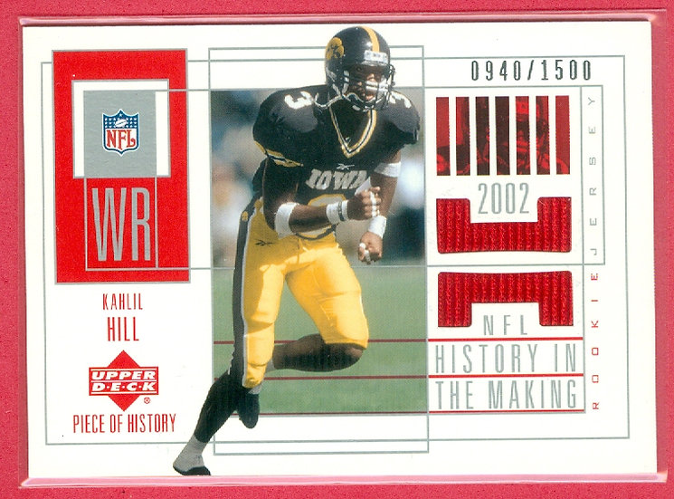 """""""Kahlil Hill"""" SP RC JERSEY CHASE CARD #d 0940/1500"""