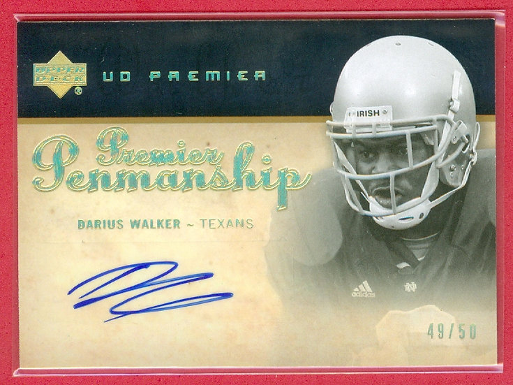 """Darius Walker"" SP RC AUTO CHASE CARD #'ed 49/50"