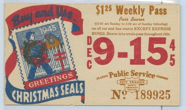 1945 ST. LOUIS CAR & BUS PASS TICKET #189925