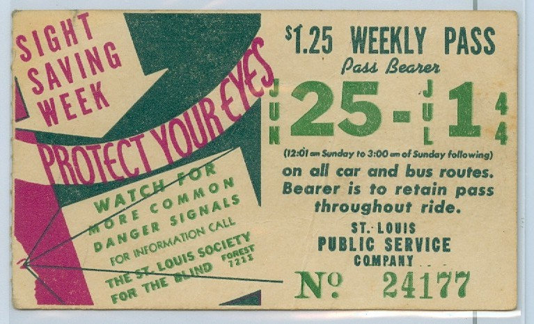 1944 ST. LOUIS CAR & BUS PASS TICKET #24177
