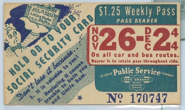 1944 ST. LOUIS CAR & BUS PASS TICKET #170747