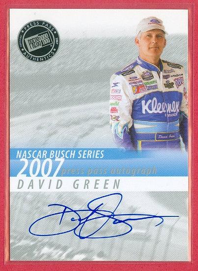 """David Green"" NASCAR SP AUTOGRAPH CHASE CARD"