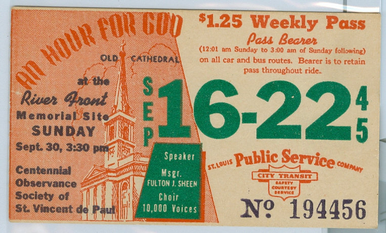 1945 ST. LOUIS CAR & BUS PASS TICKET #194456