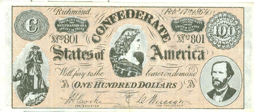 "1962 ""$100.00"" CONFEDERATE BANKNOTE PLAY MONEY"