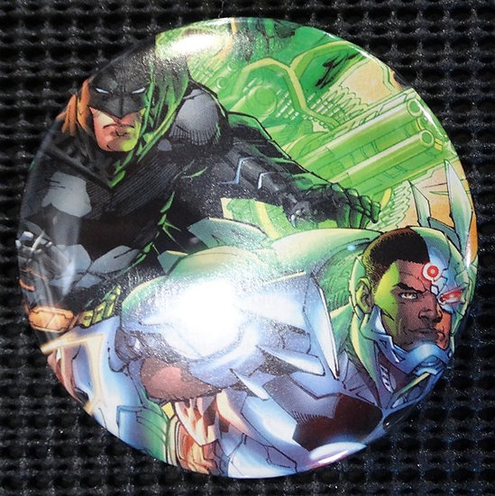 """BATMAN/CYBORG/JLA"" POP CULTURE 3"" PINBACK/PIN-BACK COMIC BUTTON"