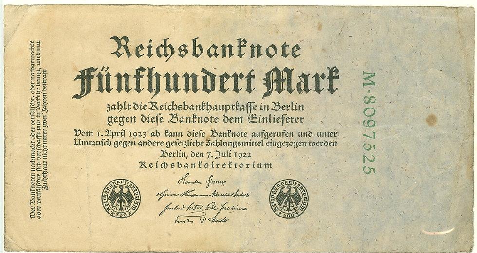 RARE 1922 GERMAN 500 MARK REICHS BANK NOTE