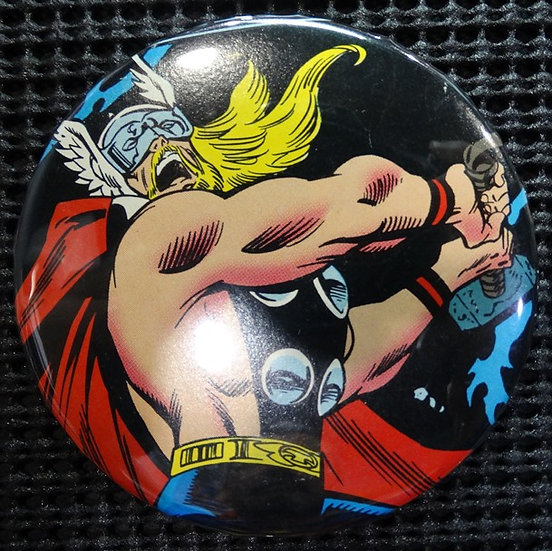 """""""The MIGHTY THOR"""" POP CULTURE 3"""" PINBACK/PIN-BACK COMIC BUTTON"""