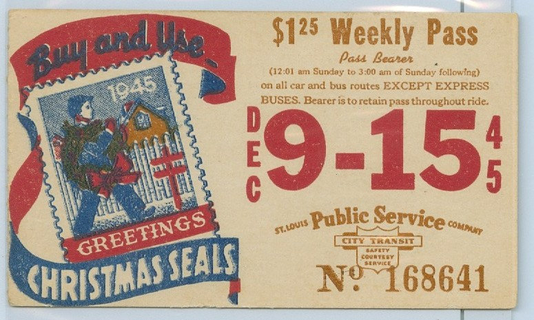 1945 ST. LOUIS CAR & BUS PASS TICKET #168641