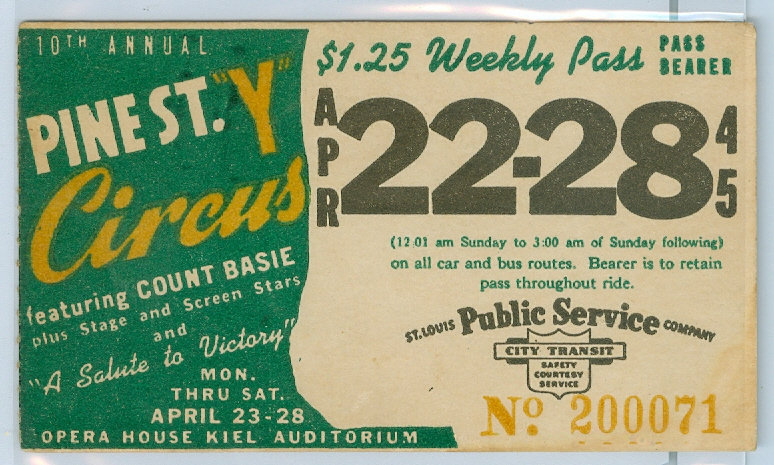 1945 ST. LOUIS CAR & BUS PASS TICKET #200071