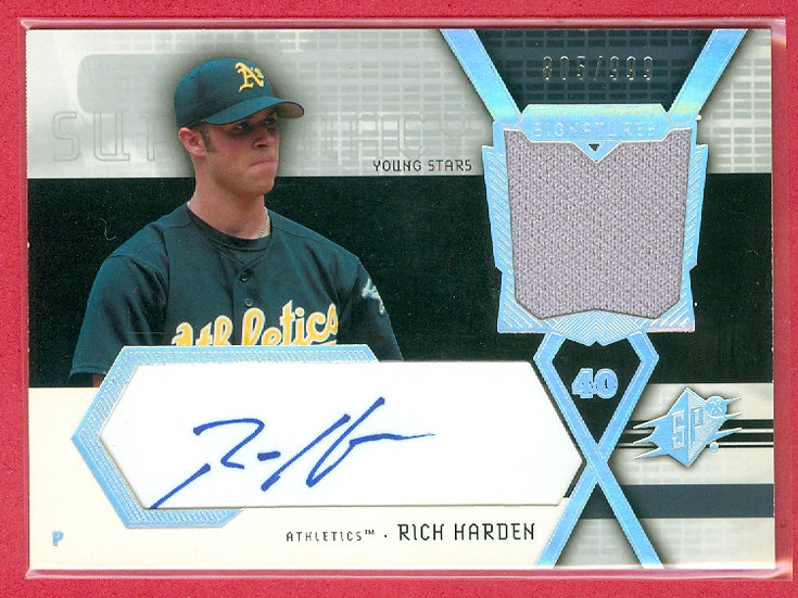 """""""Rich Harden"""" SP RC AUTO/JERSEY CARD #'ed 805/999"""