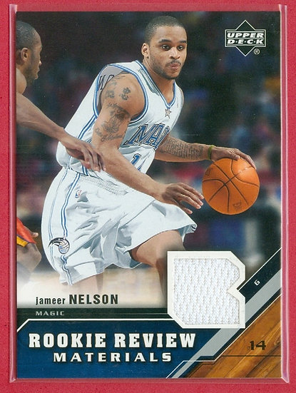 """""""Jameer Nelson"""" SP GAME-USED JERSEY RELIC CARD"""