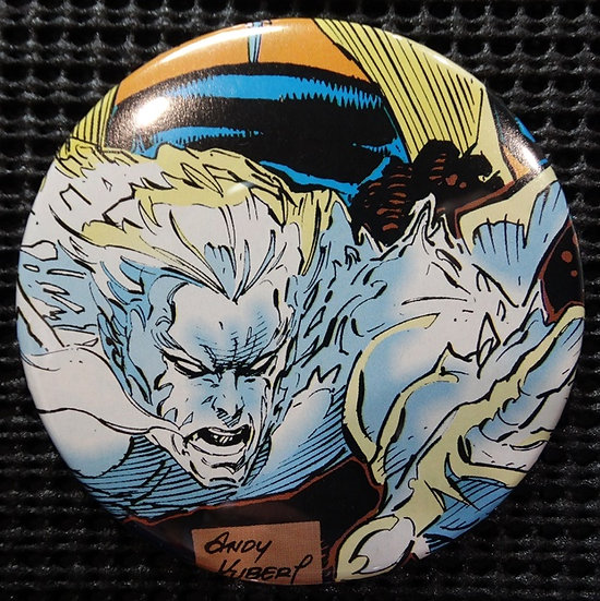 """ICE MAN/X-MEN"" POP CULTURE 3"" PINBACK/PIN-BACK COMIC BUTTON"