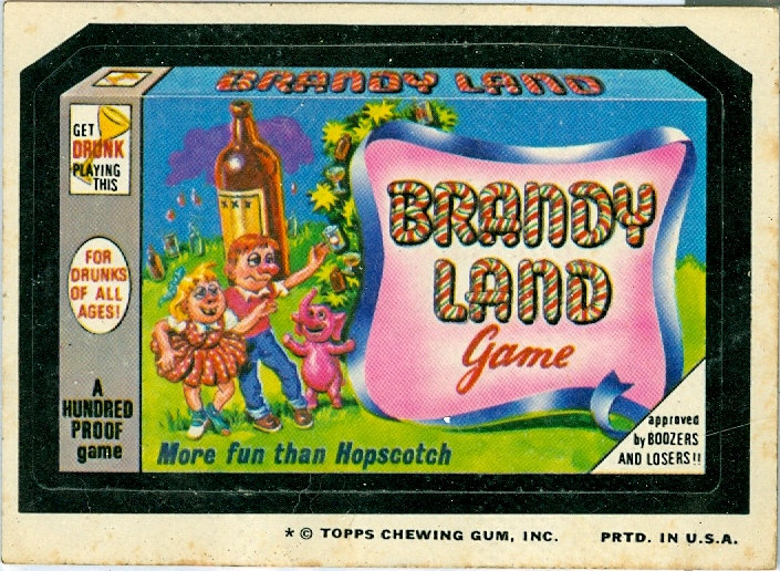 "1974 WACKY PACKAGES ""BRANDY LAND"" STICKER/TAN BACK"