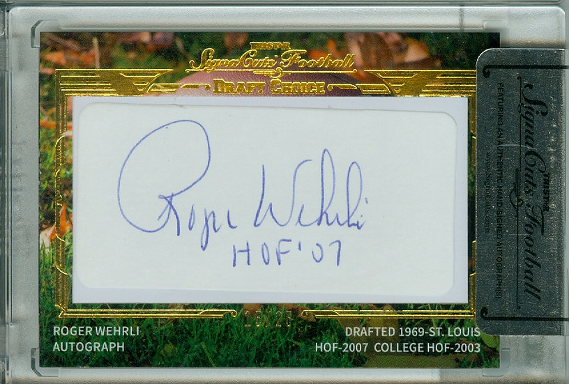 """Roger Wehrli"" CUT SIGNATURE CARD #ed 15/25"