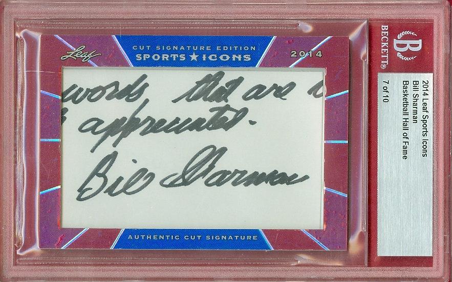 """""""Bill Sharman"""" SSP CUT SIGNATURE CARD #'ed 7 of 10"""