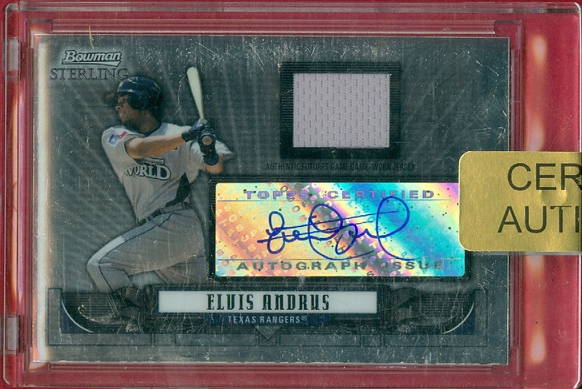 """""""Elvis Andrus"""" SP RC AUTO/JERSEY CHROME CHASE CARD"""
