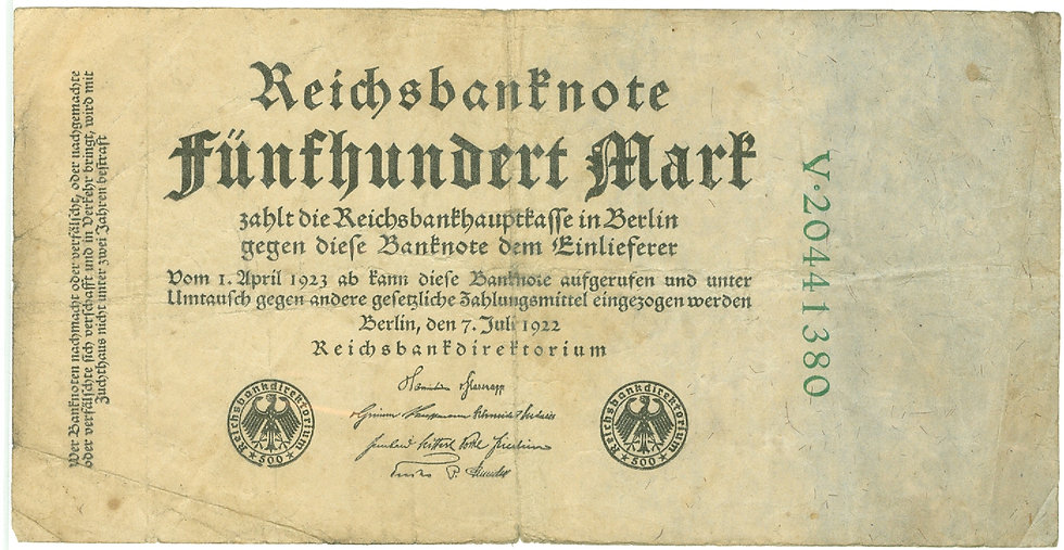RARE 1922 GERMAN 500 MARK REICHS BANK NOTE