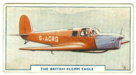 "1938 AIRCRAFT ""British Klemm"" TOBACCO CARD #26"