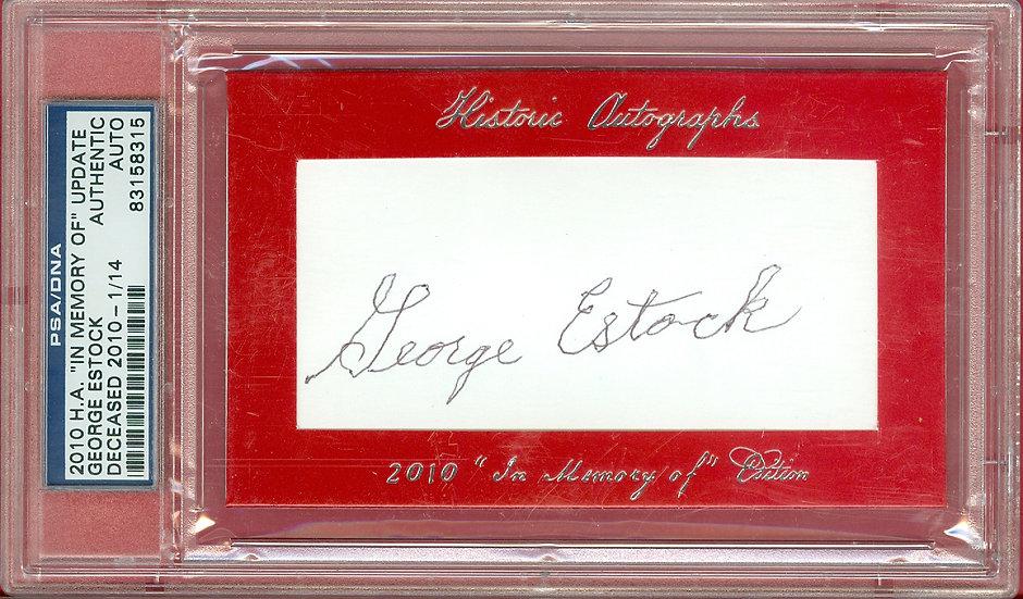 """""""George Estock"""" SSP CUT SIGNATURE CARD #'ed 1/14"""