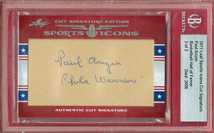"""""""Paul Arizin"""" HOF SSP CUT SIGNATURE CARD #d 2 of 2"""