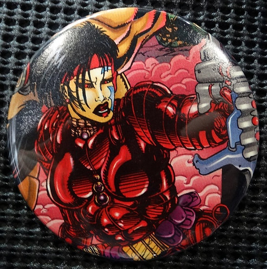 """REZA of Q-UNIT"" POP CULTURE 3"" PINBACK/PIN-BACK COMIC BUTTON"