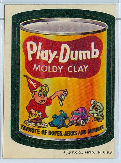 "1973 WACKY PACKAGES ""Play-Dumb"" STICKER/TAN BACK"
