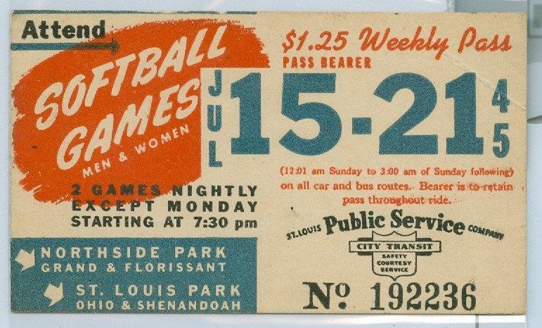 1945 ST. LOUIS CAR & BUS PASS TICKET #192236