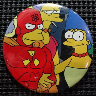 """RADIOACTIVE MAN/MARGE SIMPSON"" POP CULTURE 3"" PINBACK/PIN-BACK COMIC BUTTON"
