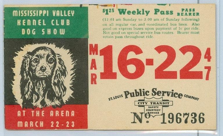 1947 ST. LOUIS CAR & BUS PASS TICKET #196736
