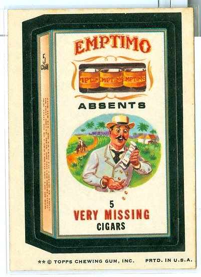 "1974 WACKY PACKAGES ""EMPTIMO"" STICKER/TAN BACK"