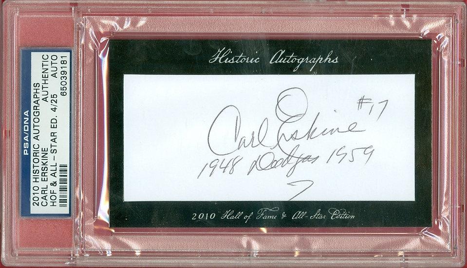 """""""Carl Erskine"""" SSP CUT SIGNATURE CARD #'ed 4/25"""
