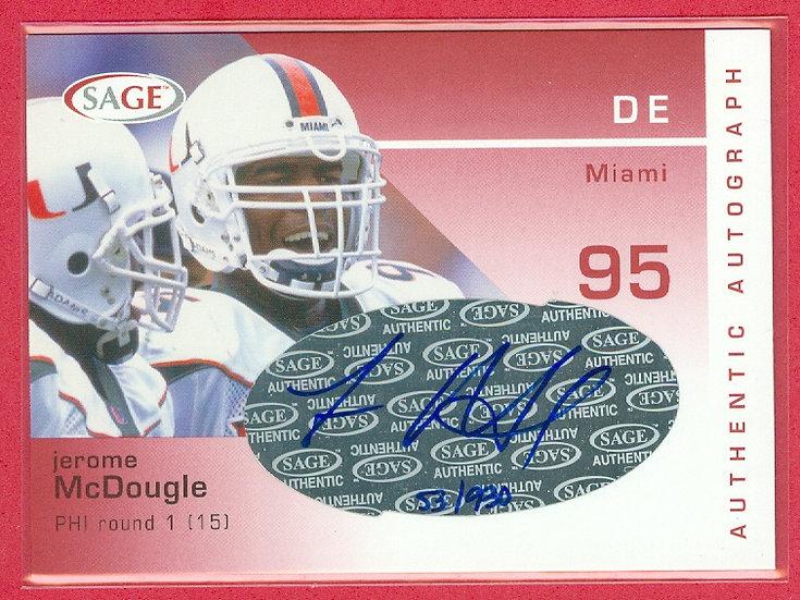 Jerome McDougle SP COLLEGE RC AUTO CARD #d 53/930
