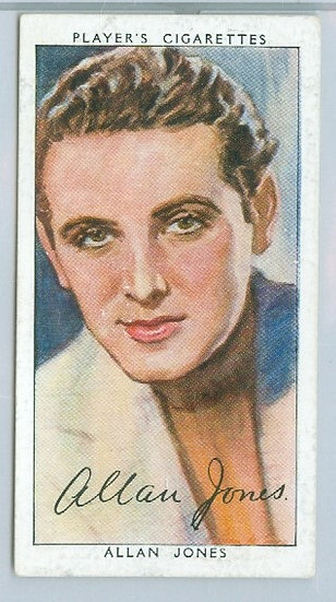 "1938 FILM STARS ""Allan Jones"" TOBACCO CARD #19"