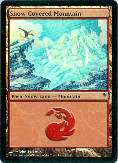 "2007 MTG ""Snow Mountain"" FOIL GAMING CARD - MINT"