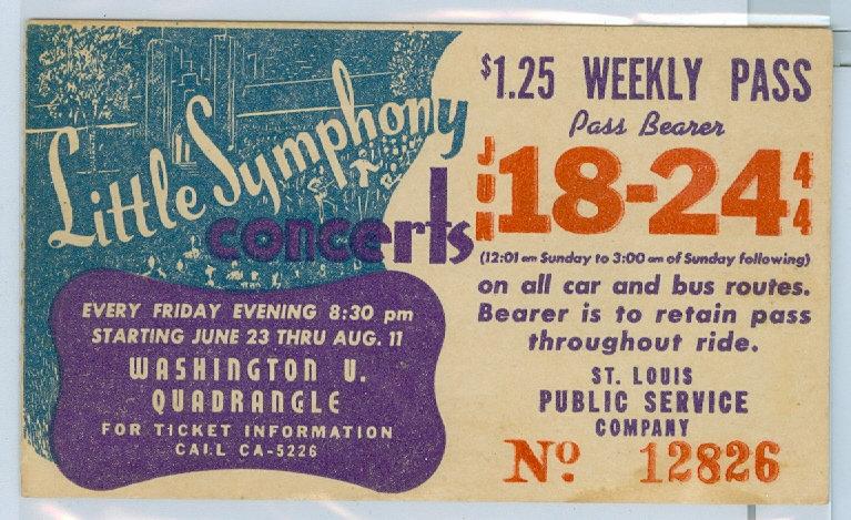1944 ST. LOUIS CAR & BUS PASS TICKET #12826