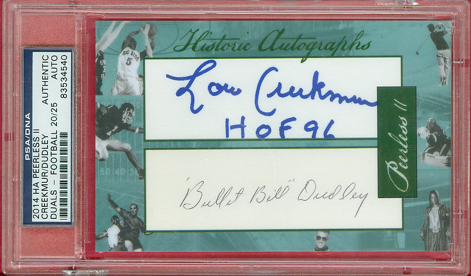 """Lou Creekmur/Bill Dudley"" CUT SIGNATURE #ed 20/25"