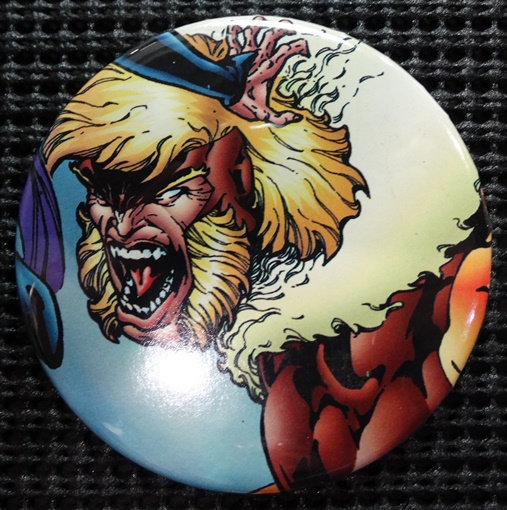 """SABRETOOTH"" POP CULTURE 3"" PINBACK/PIN-BACK COMIC BUTTON"