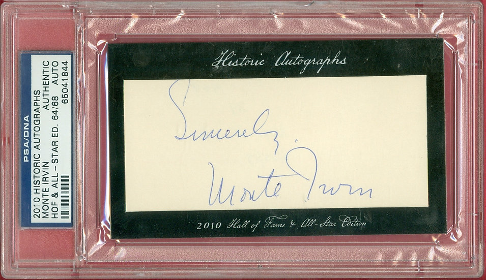 """""""Monte Irvin"""" HOF SP CUT SIGNATURE CARD #'ed 64/68"""