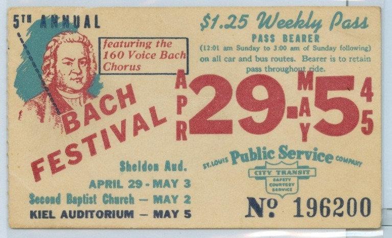 1945 ST. LOUIS CAR & BUS PASS TICKET #196200