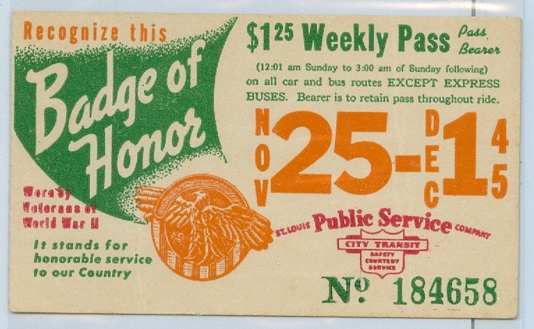 1945 ST. LOUIS CAR & BUS PASS TICKET #184658