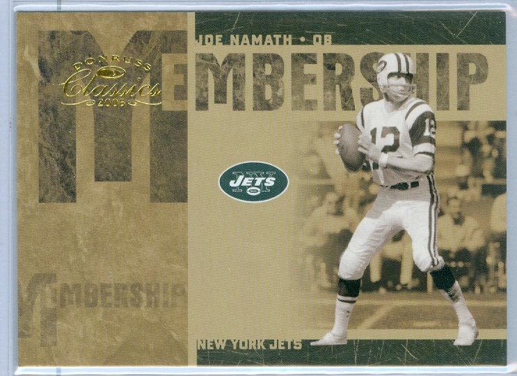 """""""Joe Namath"""" SP MEMBERSHIP CHASE CARD #d 149/250"""