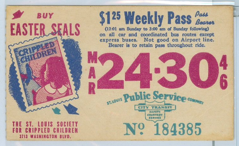1946 ST. LOUIS CAR & BUS PASS TICKET #184385